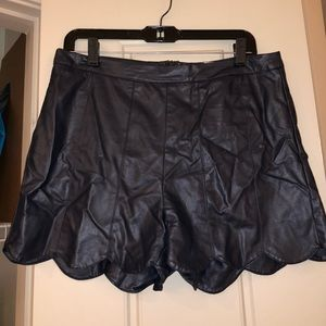 Navy Faux Leather Scalloped Shorts
